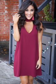 Show Me Your MuMu Friday Choker Dress ~ Burgundy Pebble