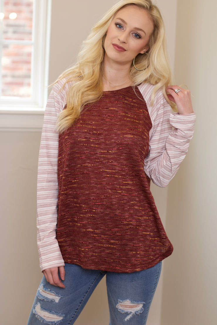 Win Your Heart Brick Raglan Top