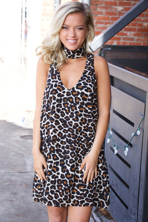 Show Me Your MuMu Friday Choker Dress ~ Cheetah Club Pebble