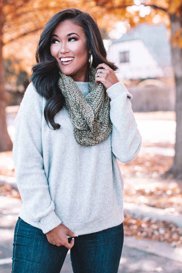 Too Good Olive Chenille Scarf