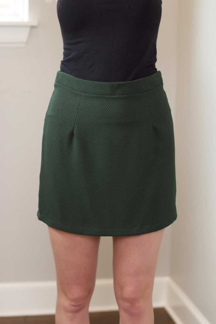 Hunter Green Textured Woven Skirt