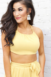 Finding Happiness Mustard Tie Crop Top