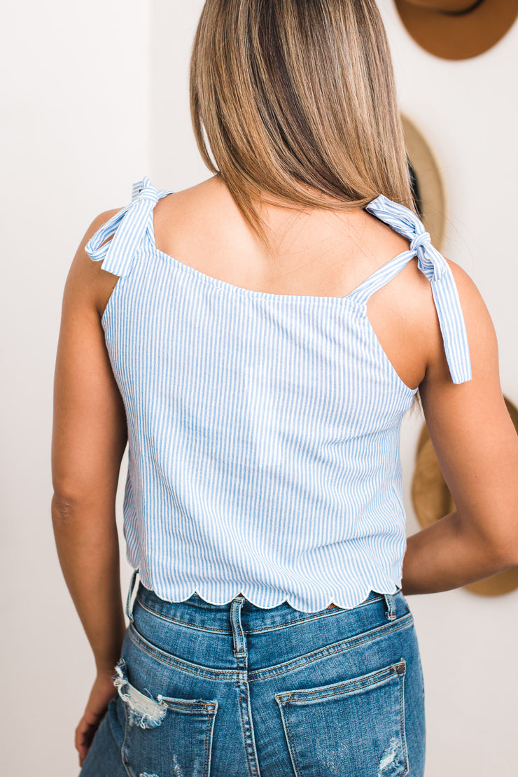 Traveling Around Blue & Ivory Stripe Top