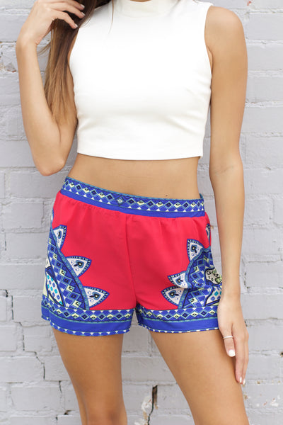 Fuchsia & Royal Blue Printed Shorts