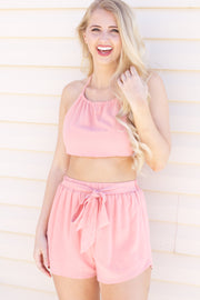 Finding Happiness Blush Tie Crop Top