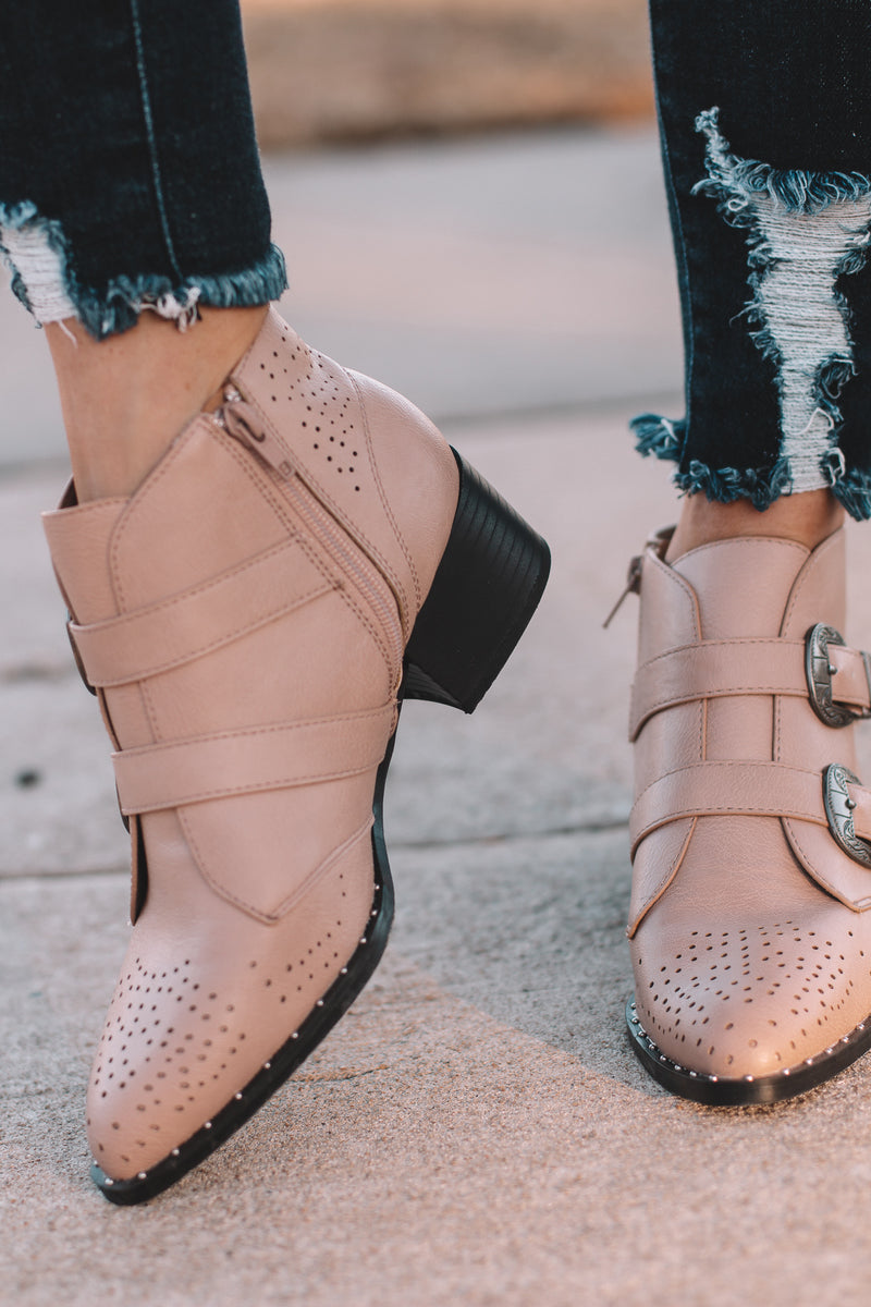 Wasco Nude Double Buckle Bootie