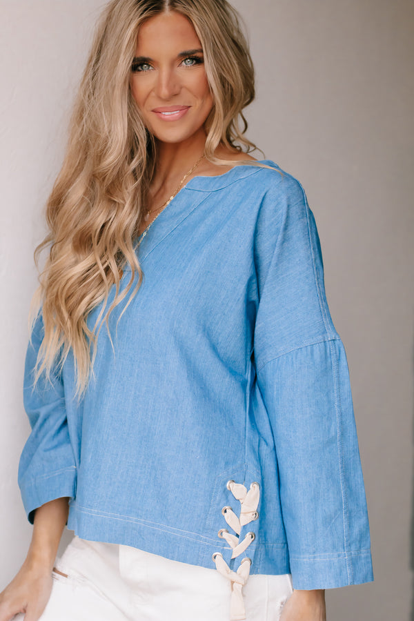 Create Your Path Light Denim Chambray Top