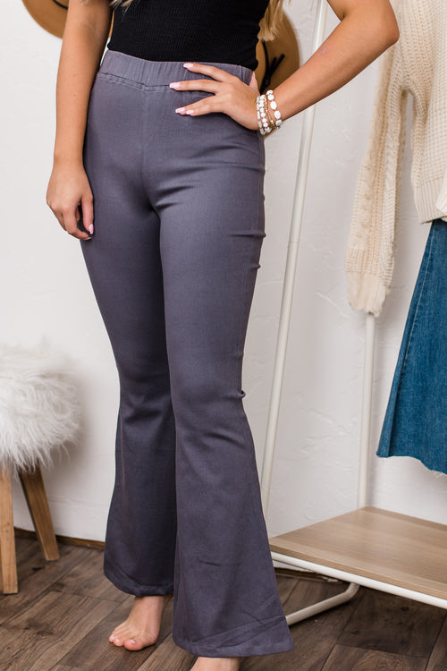 Captivating Me Charcoal Bell Bottom Pants