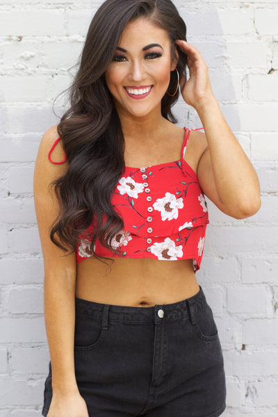 Summertime Romance Red Floral Tank Crop Top