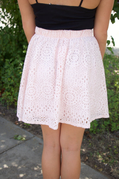 Blush Lace Skater Skirt With Lining