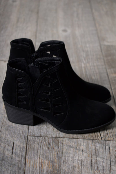 Kids Chance Black Cut Out Booties