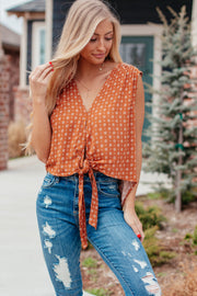 Got It Together Rust V-Neck Front Tie Top