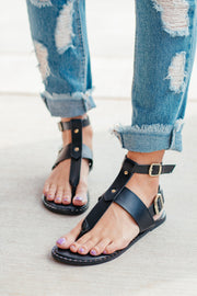 Kazen T-Strap Black Double Ankle Sandals