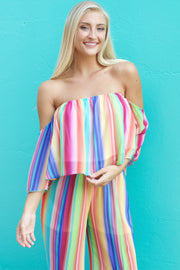Eyes On Me Multi Color Off Shoulder Crop Top