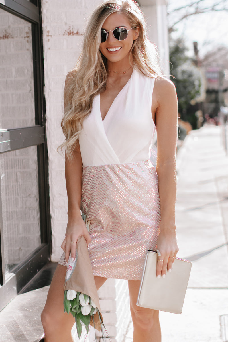 Give A Little Shake Pink Sequin Slit Skirt