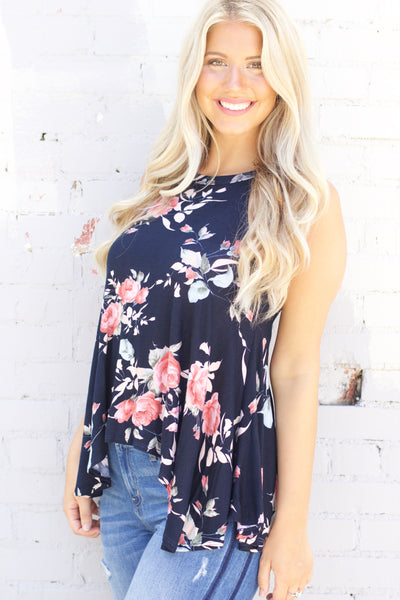 Express Yourself Navy Floral Swing Tank