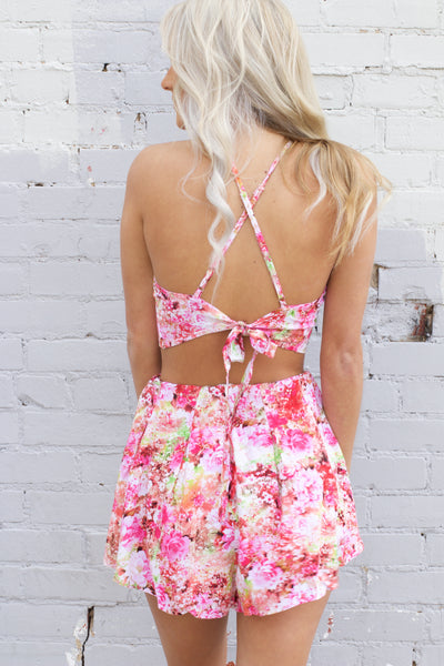 Too Sweet Fuchsia Floral Tie Crop Top