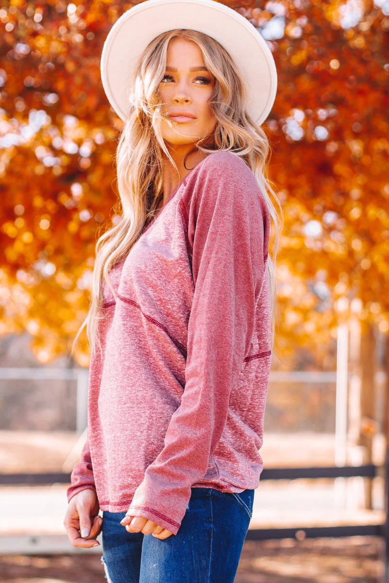 Stay Here With Me Burgundy Long Sleeve V-Neck Top