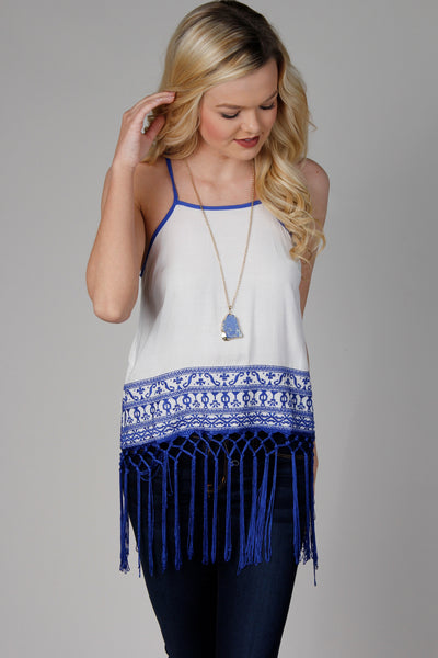 Off White & Royal Blue Fringe Trim Tank Top