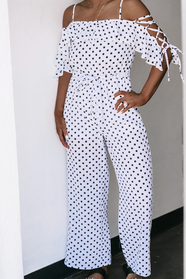 Spring In Your Step Off White Polka Dot Jumpsuit