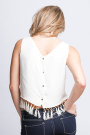 Ivory Tassel Beaded Crop