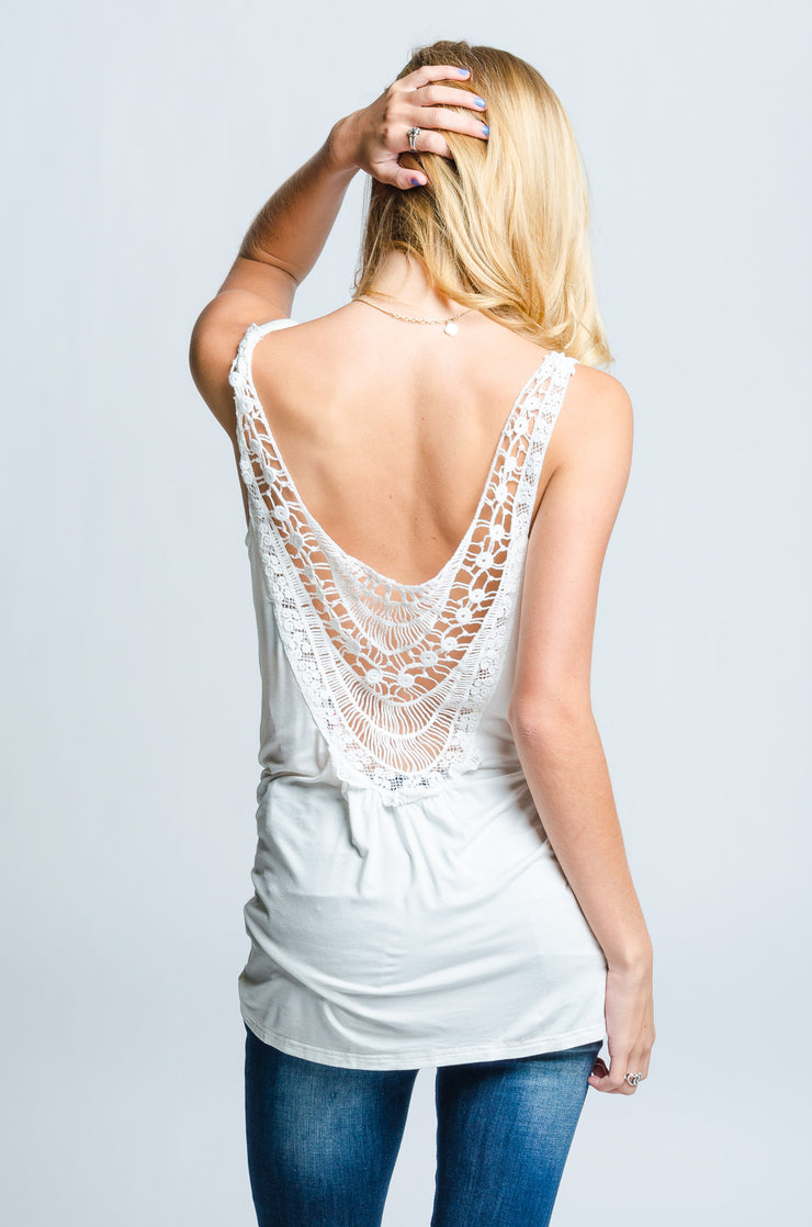 Cream Crochet Back Detail Top