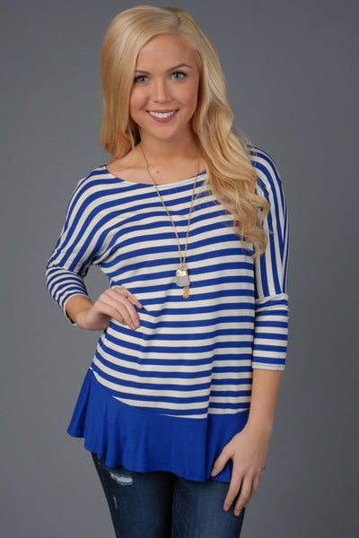Royal Blue & White Striped Long Sleeve Top with Ruffle