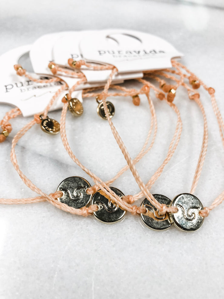 Puravida Wave Gold Coin Bracelet - Blush