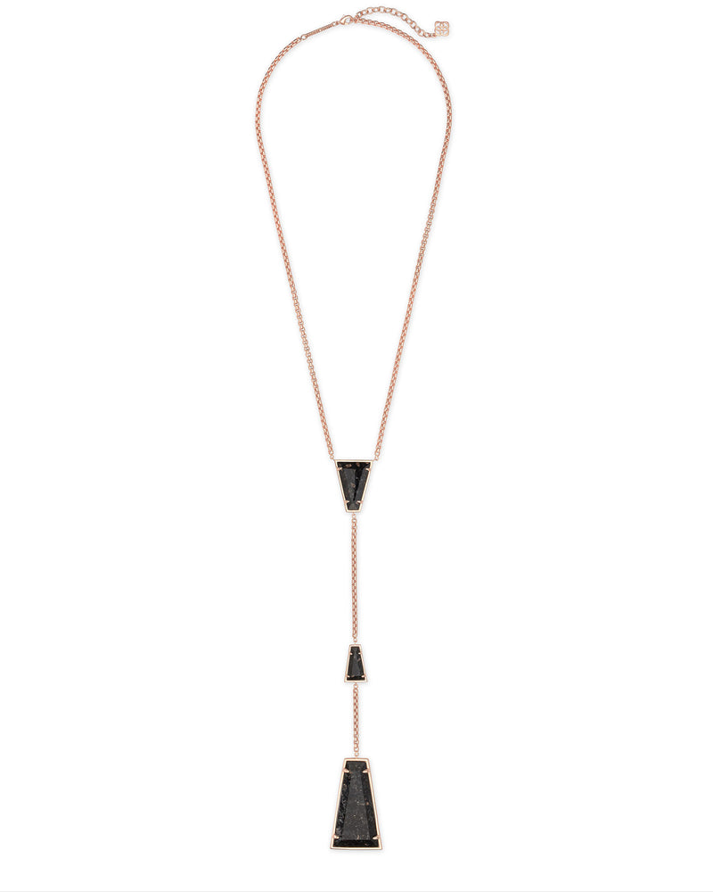 Kendra Scott Collins Rose Gold Y Necklace In Black Granite- FINAL SALE