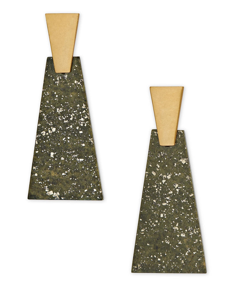 Kendra Scott Collins Vintage Gold Statement Earrings In Olive Epidote- FINAL SALE