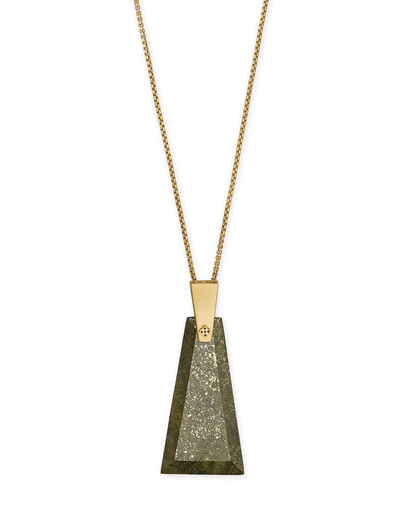 Kendra Scott Collins Vintage Gold Long Pendant Necklace In Olive Epidote- FINAL SALE