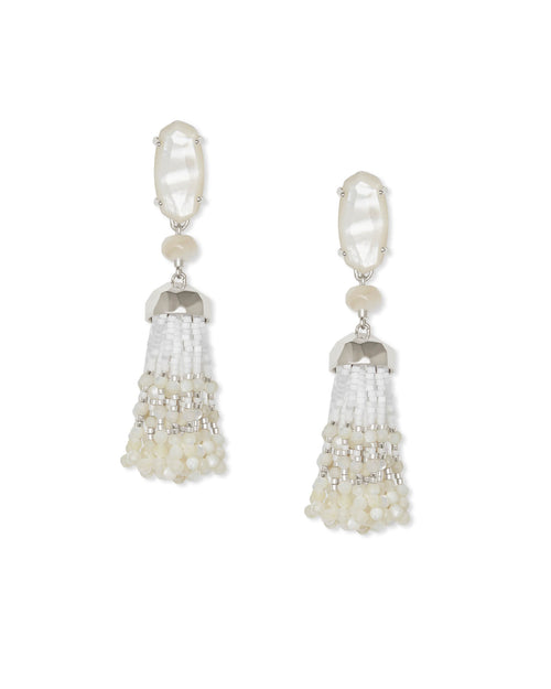 Kendra Scott Dove Silver Statement Earrings In Ivory Mother Of Pearl