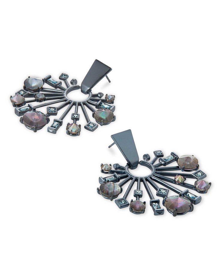 Kendra Scott Fabia Small Navy Gunmetal Statement Earrings In Indigo Illusion- FINAL SALE
