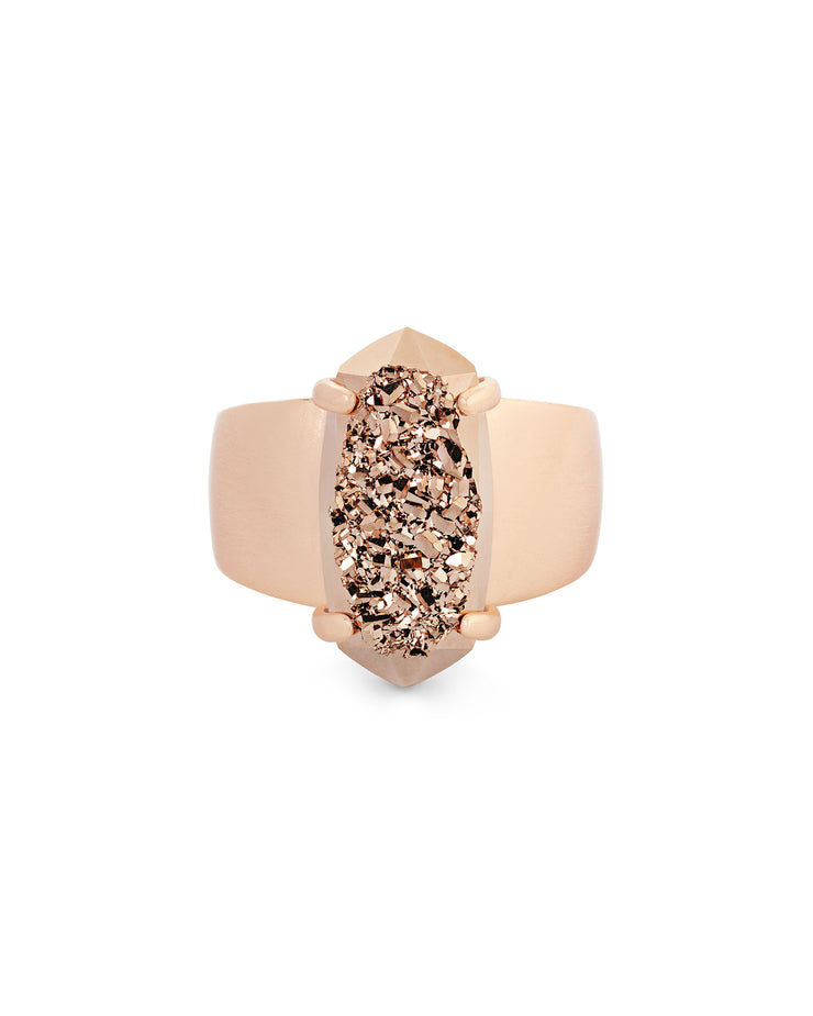 Kendra Scott Harrison Cocktail Ring In Rose Gold Drusy- FINAL SALE