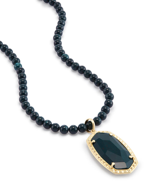 Kendra Scott Marlowe Long Pendant Necklace In Green Ocean Jasper