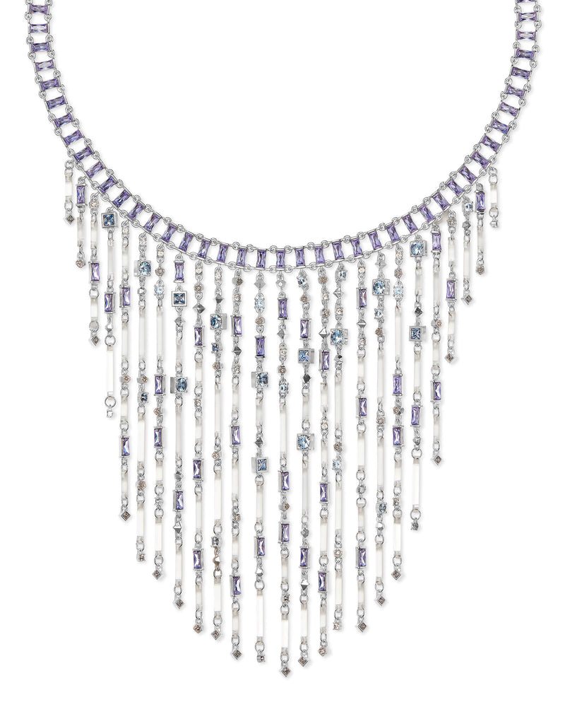 Kendra Scott Maxen Silver Statement Necklace In Lilac Mix- FINAL SALE