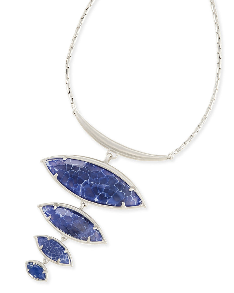 Kendra Scott Morris Statement Necklace In Crackle Blue Agate- FINAL SALE
