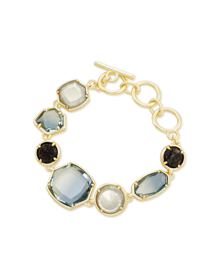 Kendra Scott Natalia Gold Link Bracelet In Steel Gray Mix
