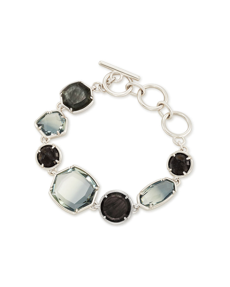 Kendra Scott Natalia Silver Link Bracelet In Charcoal Gray Mix