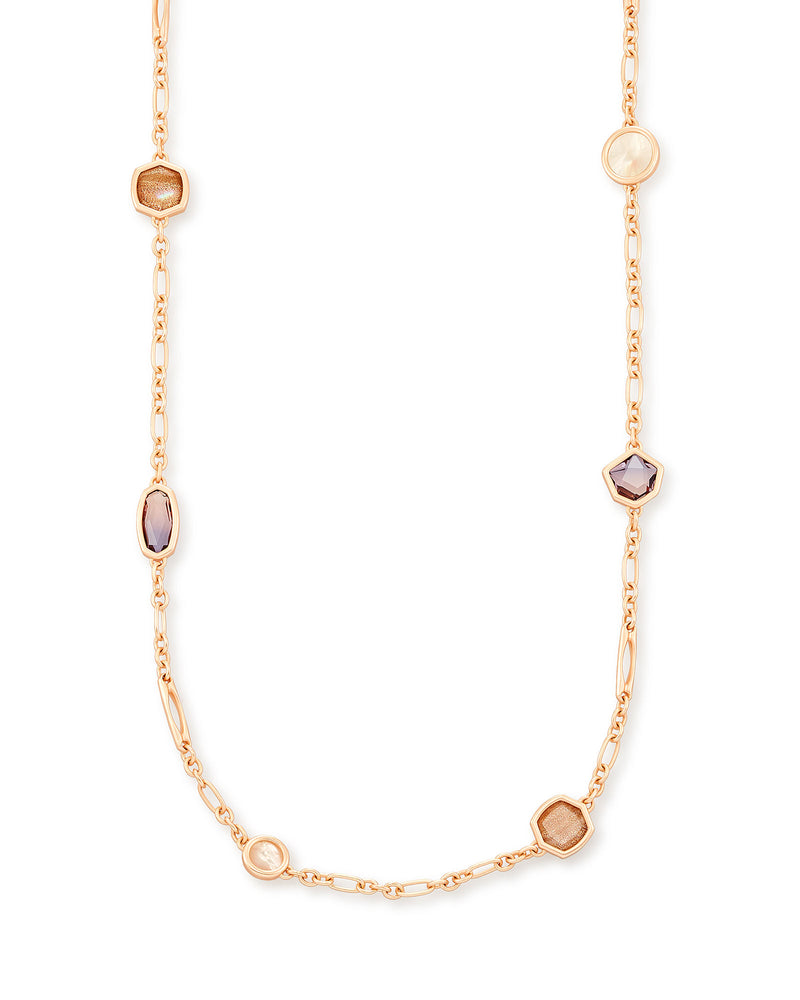 Kendra Scott Natalia Rose Gold Long Necklace In Peach Mix- FINAL SALE