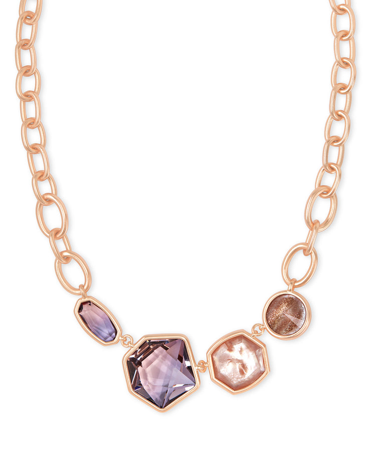 Kendra Scott Natalia Rose Gold Statement Necklace In Peach Mix- FINAL SALE