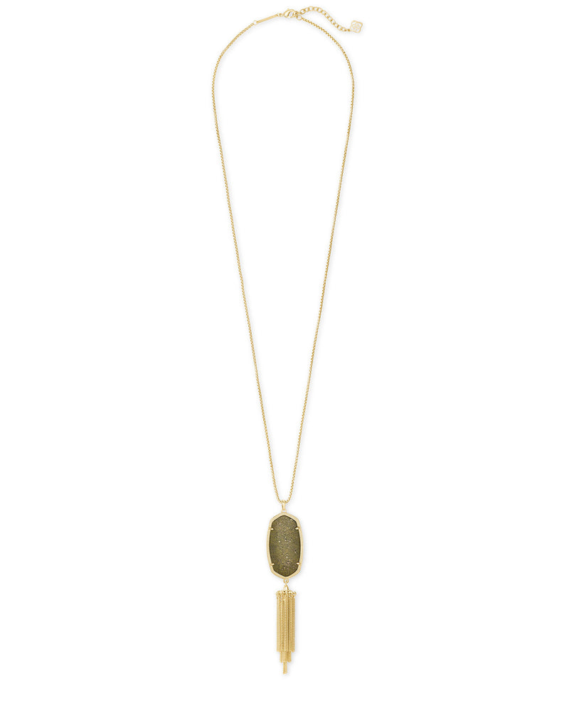 Kendra Scott Rayne Gold Long Pendant Necklace In Olive Epidote- FINAL SALE