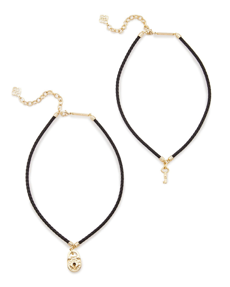 Kendra Scott Sunny Choker Necklace Set In Black Cord- FINAL SALE