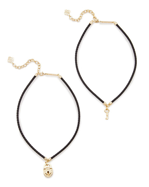 Kendra Scott Sunny Choker Necklace Set In Black Cord