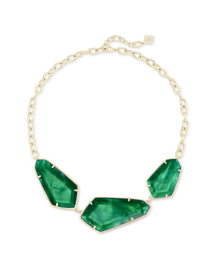 Kendra Scott Violet Gold Statement Necklace In Jade Green Illusion- FINAL SALE
