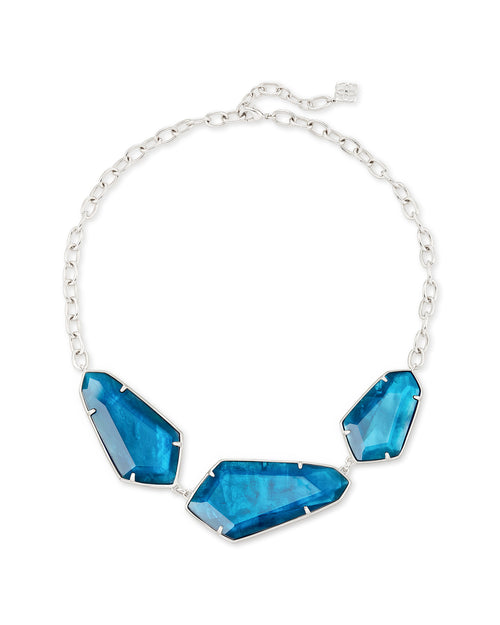 Kendra Scott Violet Silver Statement Necklace In Peacock Blue Illusion