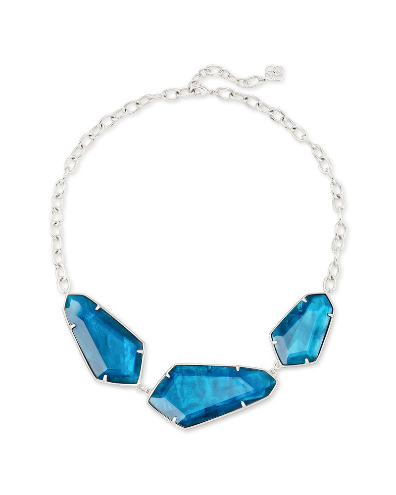 Kendra Scott Violet Silver Statement Necklace In Peacock Blue Illusion- FINAL SALE
