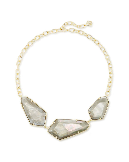 Kendra Scott Violet Gold Statement Necklace In Gray Illusion