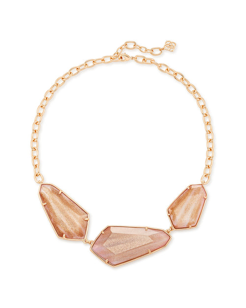 Kendra Scott Violet Rose Gold Statement Necklace In Gold Dusted Pink Illusion