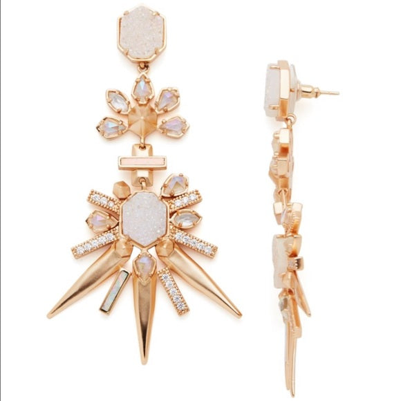 Kendra Scott Rose Gold Isadora Statement Earrings in Iridescent Drusy